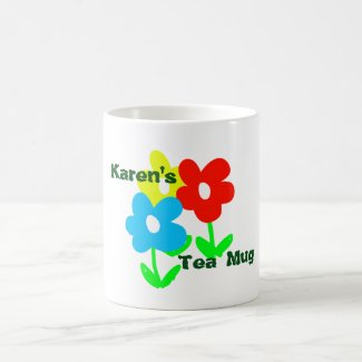 Name tea mug with colorful flowers