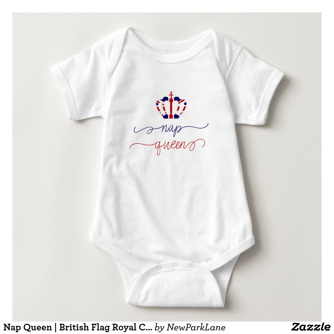 Nap Queen | British Flag Royal Crown | Funny Baby Bodysuit