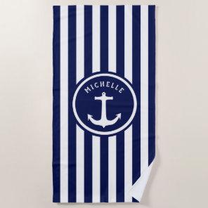Nautical Blue White Stripes Anchor Beach Towel
