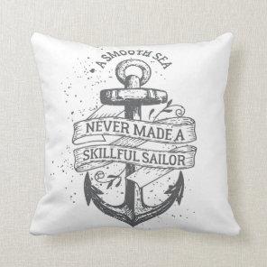 Nautical motivational sailor quote cushion