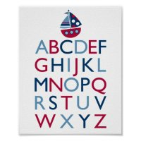 Nautical Sailboat Nursery Wall Art Print Alphabet