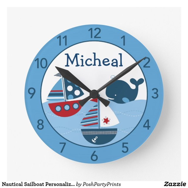 Nautical Sailboat Personalised Wall Clock