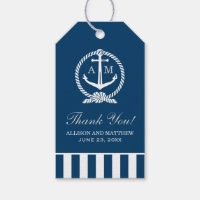 Nautical Wedding Favor Tags | Anchor Monogram Pack Of Gift Tags