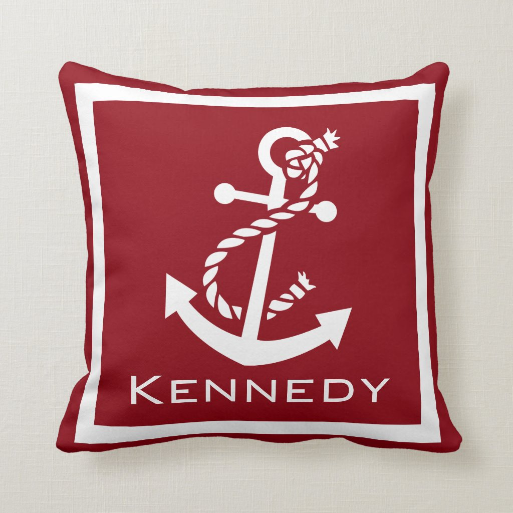Nautical With Rope Name Cushion