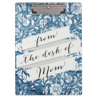 Navy and White Denim Damask Shabby Chic Print Clipboard