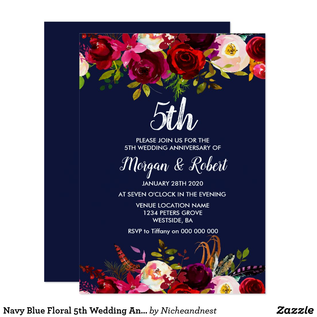 Navy Blue Floral 5th Wedding Anniversary Invite
