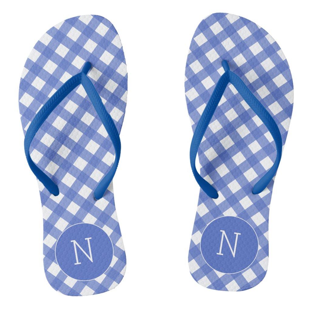 Navy Blue Gingham Print Monogrammed Flip flops