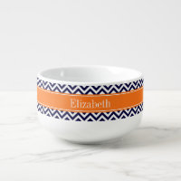 Navy Blue Lg Chevron Pumpkin Name Monogram Soup Mug