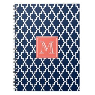 Navy Blue Moroccan Coral Monogram Notebook