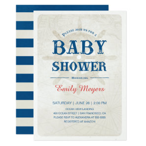 Navy Blue Nautical Baby Shower Invitation