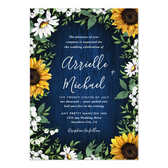 Navy Blue And Sunflower Wedding Invitations