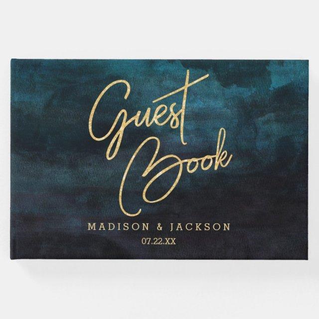 Navy Blue Watercolor & Gold Wedding Monogram Guest Book
