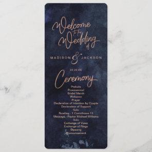 Navy Blue Watercolor & Rose Gold Wedding Program Programme