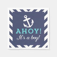 Navy Nautical Chevron Baby Shower Napkins Standard Cocktail Napkin