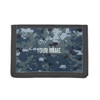 Navy NWU Camouflage Customizable Tri-fold Wallet