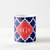 Navy Wht Moroccan #5 Coral Red 3 Initial Monogram Coffee Mug