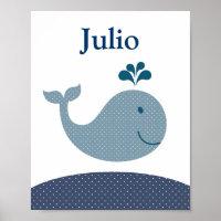 Nursery whale art for kids poster