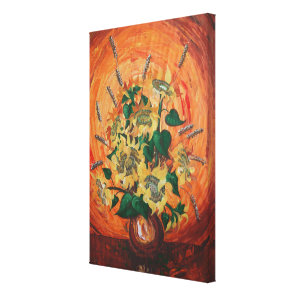 Orange sunflowers painting for her canvas print