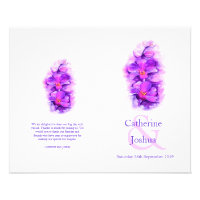 Orchid watercolor purple Wedding Programme 4.5