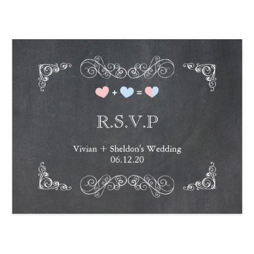 Ornate Frame + Chalkboard Wedding RSVP (4.25x5.6)