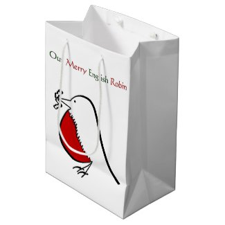 Our Merry English Robin Medium Gift Bag