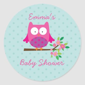 Owl on a Branch Personalised Sticker