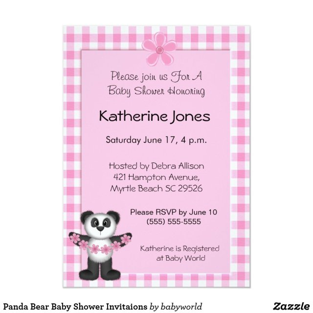 Panda Bear Baby Shower Invitaions