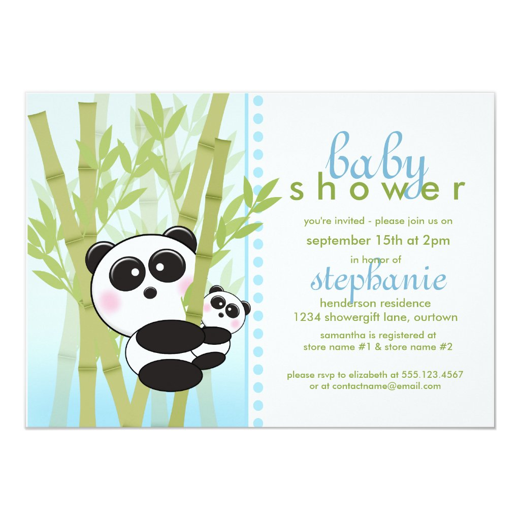 Panda (Blue) Baby Shower Invitations