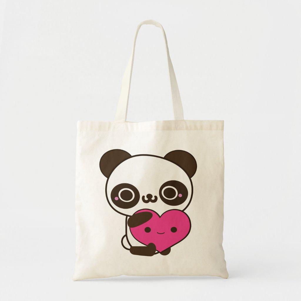 Panda Heart Tote Bag
