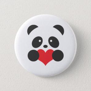 Panda holding a heart button