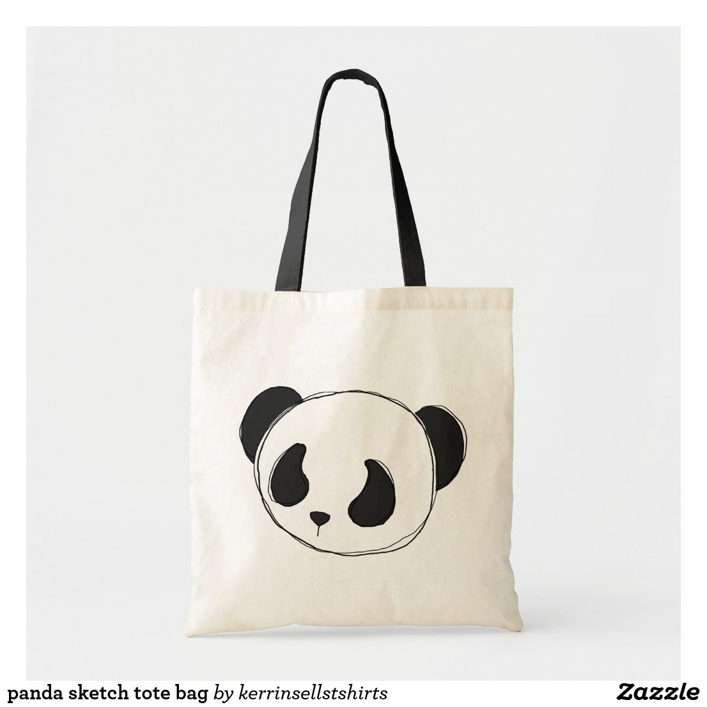 panda sketch tote bag