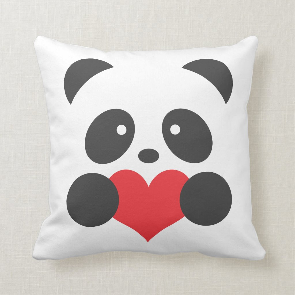 Panda with a heart pillow