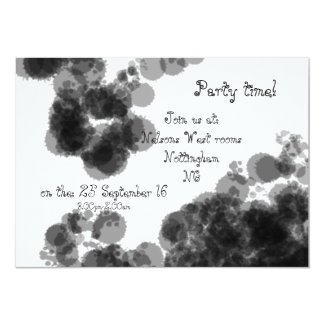 Party time! invitations black/white splats design
