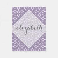 Pastel Purple Gray Quatrefoil Pattern Custom Name Fleece Blanket