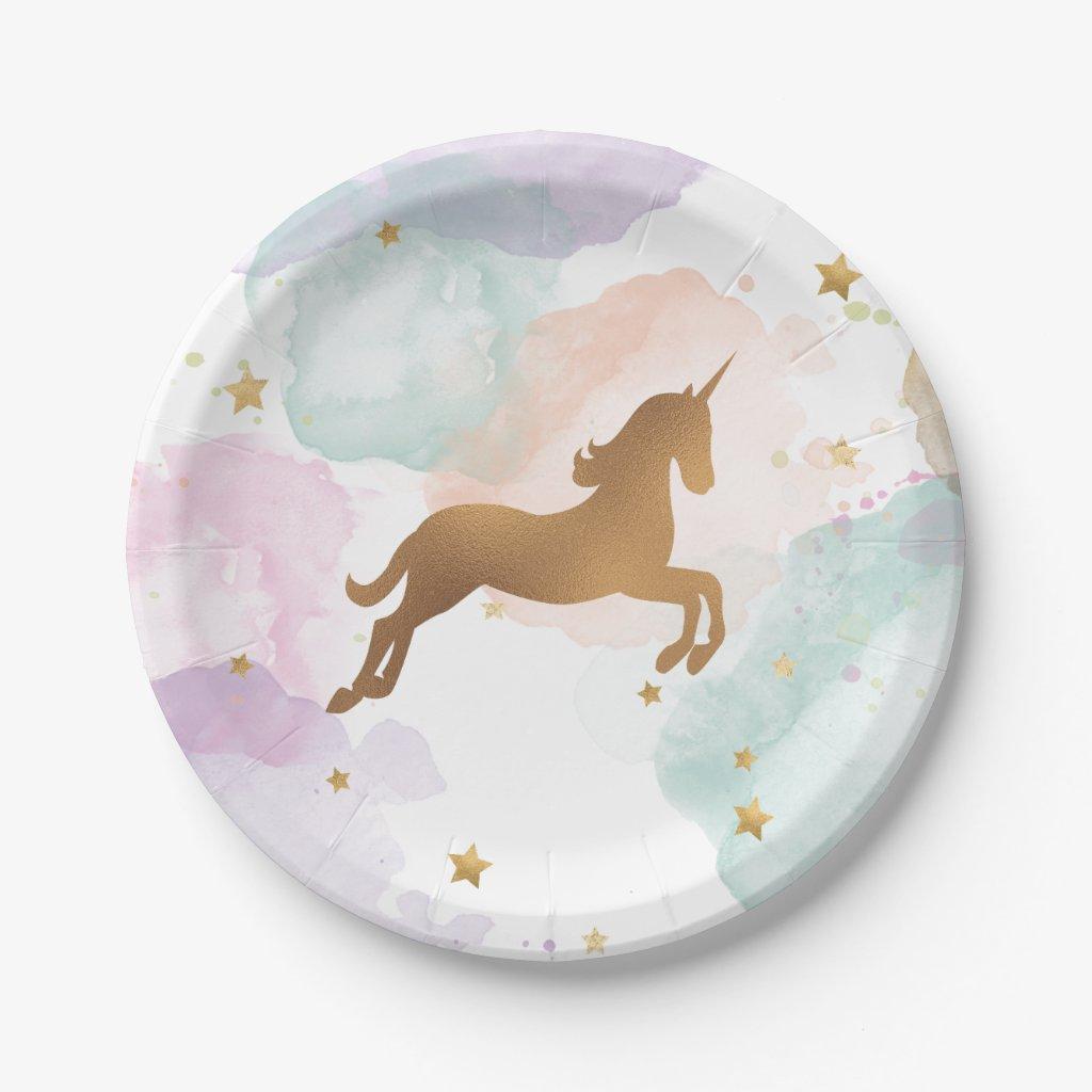 Pastel Unicorn Birthday Party Plate
