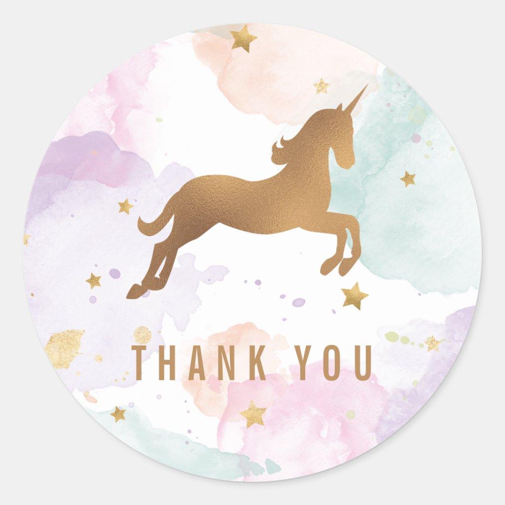 Pastel Unicorn Birthday Party Thank You Stickers