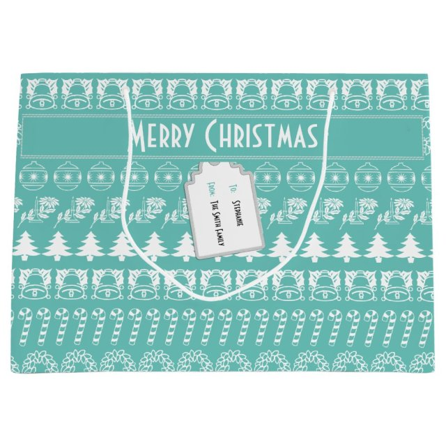 Personalise: Teal and White Christmas Stripes