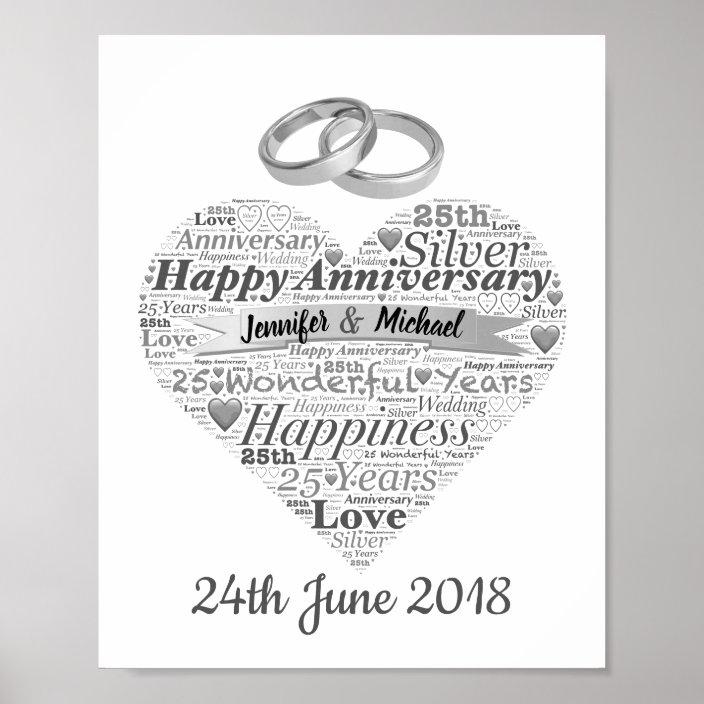 Personalised 25th Wedding Anniversary Word Art Poster