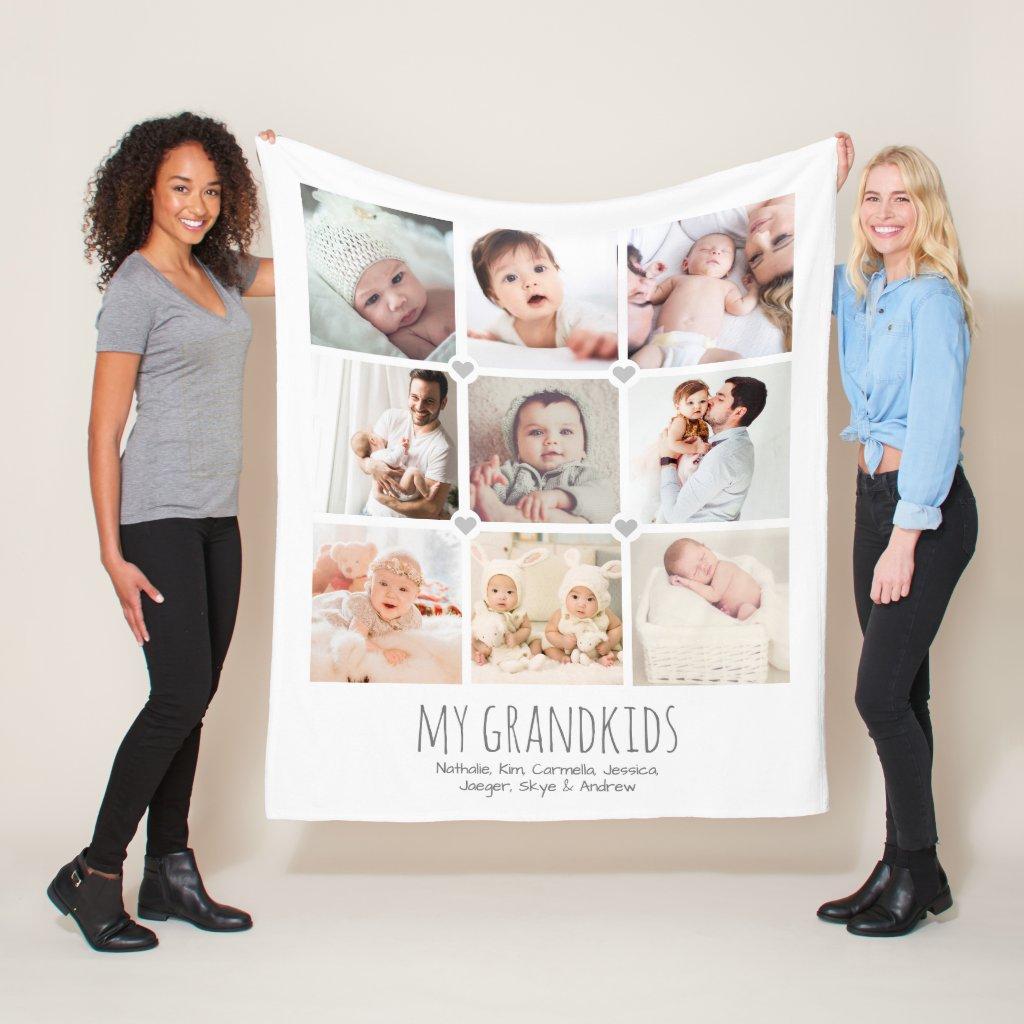 Personalised 9-photo grandparent's blanket