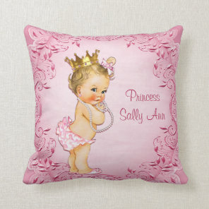 Personalised Blonde Princess Glamourous Pink Cushion