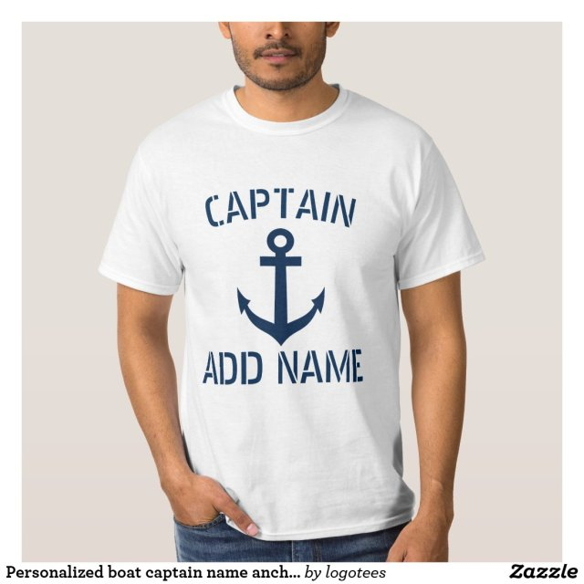 Personalised boat captain name anchor t shirts