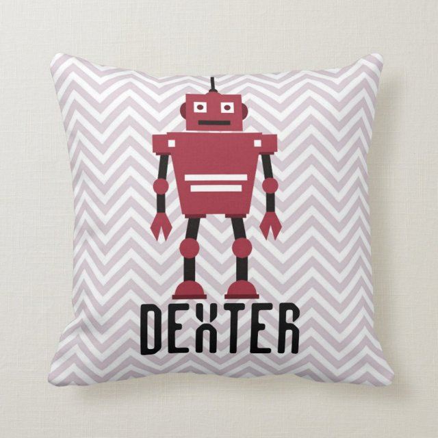 Personalised Boys Red Robot Pillow