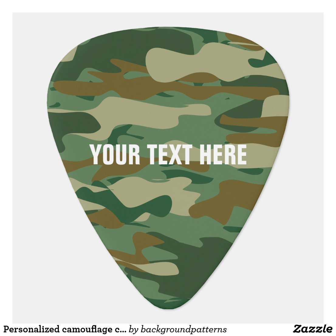 Personalised camouflage colour guitar pick