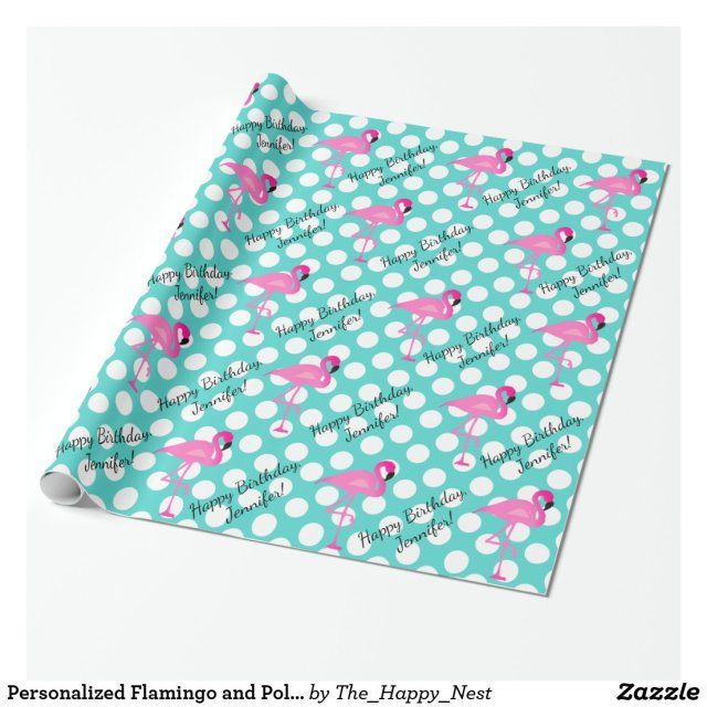 Personalised Flamingo and Polka Dot Wrapping Paper