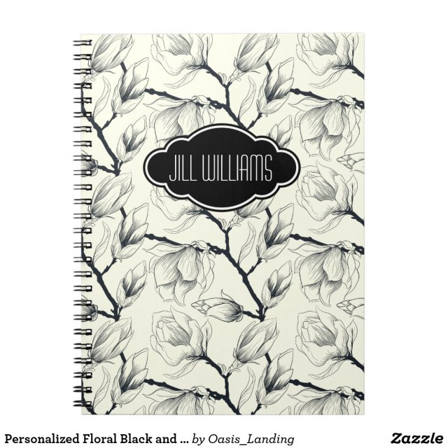 Personalised Floral Black and White Notebook