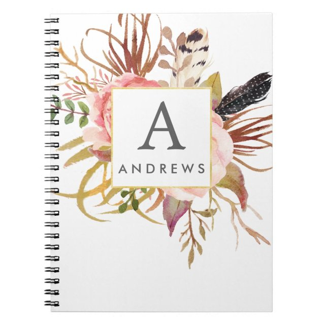 Personalised floral framed notebook