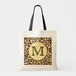Personalised Monogram Leopard Print Pattern. Tote Bag