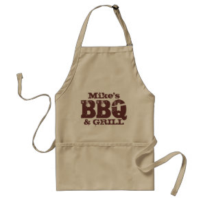Personalised name BBQ apron for guys | Brown beige