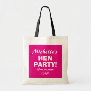 Personalised neon pink hen party night tote bags