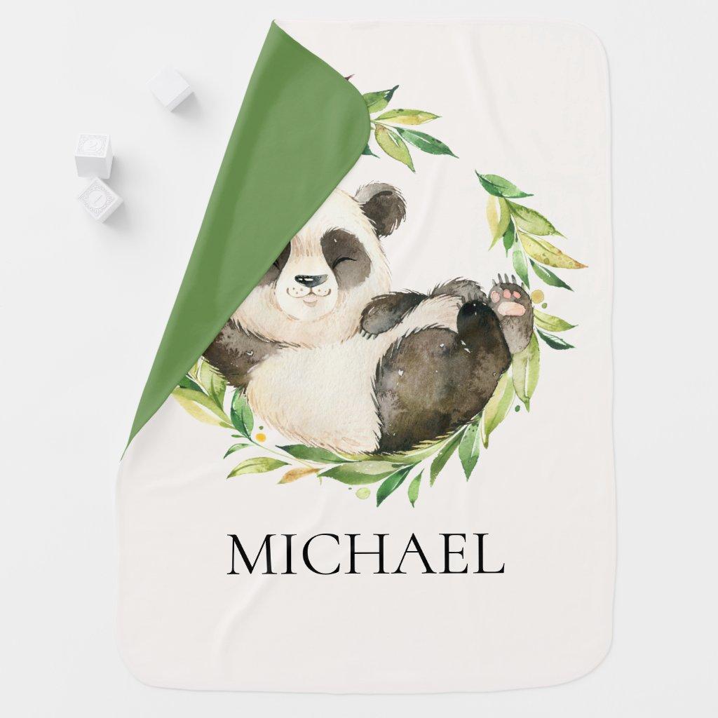 Personalised Panda Bear Baby Receiving Blanket